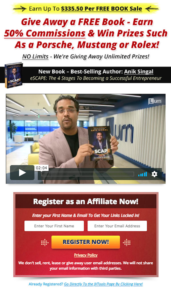 Anik Singal - eSCAPE: The 4 Stages Of Becoming A Successful Entrepreneur Free Book Launch Affiliate Program JV Invite Video