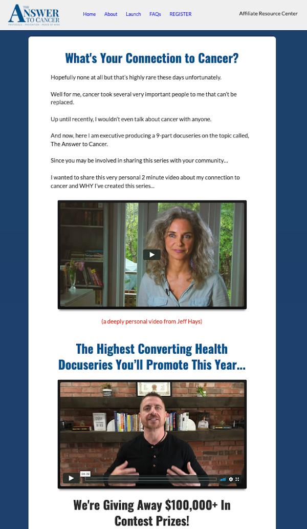 Jonathan Hunsaker, Jeff Hays + Dr Patrick Gentempo - The Answer To Cancer health docu-series launch affiliate program JV invite - Pre-Launch Begins: Thursday, March 26th 2020 - Launch Day: Monday, April 6th 2020 – Thursday, April 16th 2020